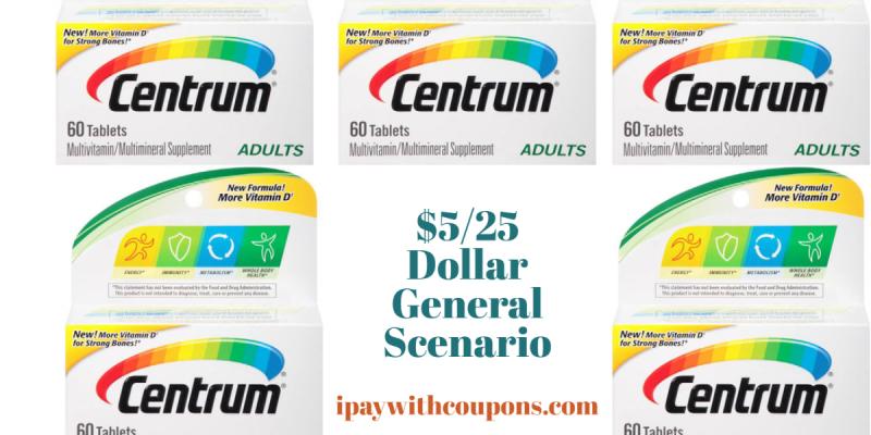 FREE Centrum Vitamins! $5/25 Dollar General Scenario!