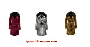 Jessica Simpson Women's Houndtooth Peacoat $28.99!