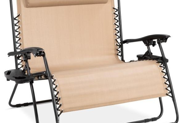 2-Person Double Wide Zero Gravity Chair Lounger w/ Cup Holders