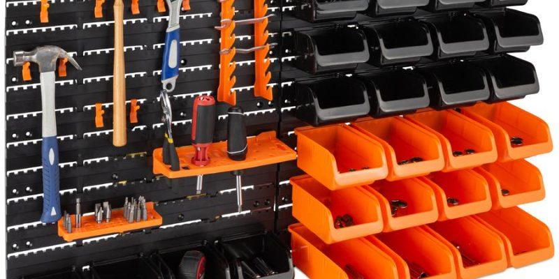 44-Piece Wall Mounted Garage Storage Rack, Tool Organizer - 38x21.25in