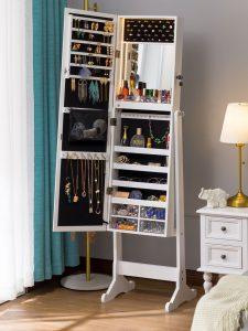 LUXFURNI LED Light Jewelry Cabinet Armoire,